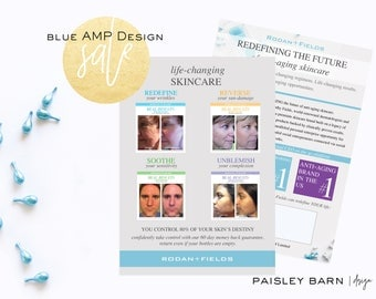 SALE! Marketing CARDS 5x7 | Skincare business  Rodan+Fields personalized | R+F anti-aging fliers flyer #1 skincare premium acne