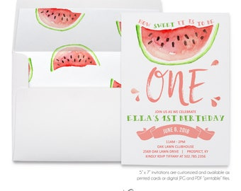 Watermelon, How Sweet It Is, To Be Turning One, Watercolor, Neutral Birthday, Summertime, Outdoor Party, Printable Digital, Printed Invites