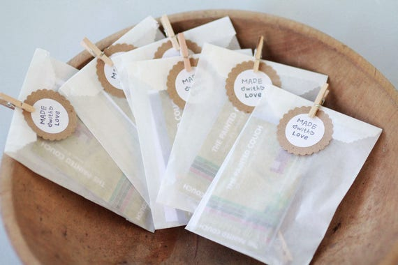 RESERVED- Glassine Bags w/ side gusset Set of 130   With custom printed kraft circle stickers