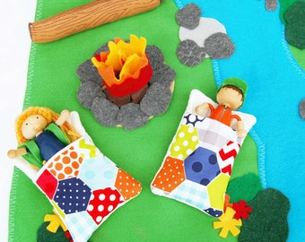 The Great Outdoors Camping Play Set - Bendy Dolls - Woodland Forest Camping Set  - Felt  Play Set - Felt Toy - Unique Gift - Zooble