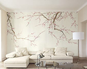 "Plum Blossom Wallpaper Oriental Vintage Flower Chinese Nature Watercolor Ink and Wash Painting Effect  Wall Mural 129.5"" x 93.7"""
