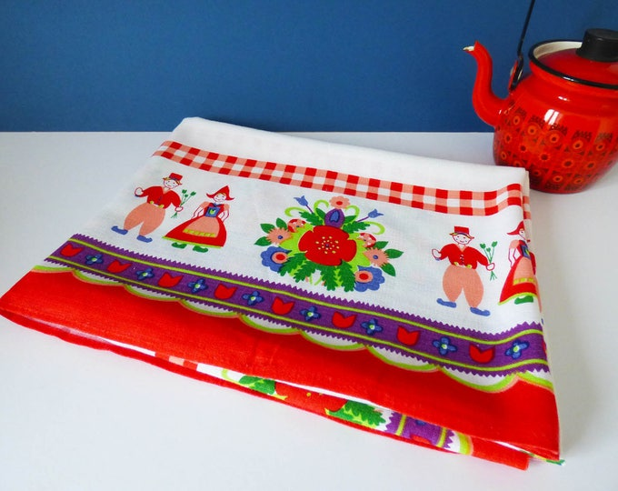 Tablecloth floppy cotton with Folk Art Design