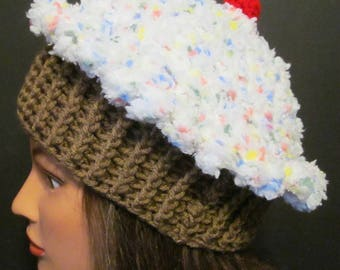 Crochet Cupcale Hat ~ Size Large ~ White top with multi colored sprinkles/Medium brown bottom