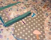 Custom Order for Sheri: Woodlands Baby Girl 4 Piece Gift Set. Bib, Burp, Swaddle and Crinkle Toy