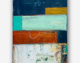 Rustic Distressed Abstract color block Painting