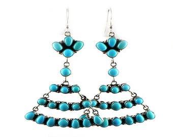 Summer Sale : ) Sleeping Beauty Turquoise Earrings Chandelier 20 Stone