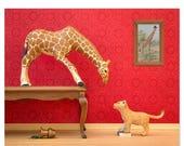 FALL SALE Giraffe and lion cub animal print: Jumpin' Giraffes