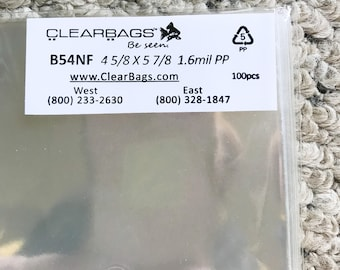 """100 clear cello bags, 4 5/8"""" x 5 7/8"""" no flap,  acid free, 1.6 mil poly, packaging for A2 cards, photographs, prints"""