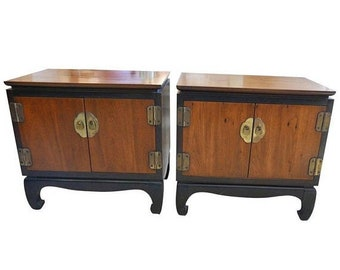 ON SALE Midcentury Ming-foot Bedside Stands, Matching Pair of Walnut and Ebonized Wood