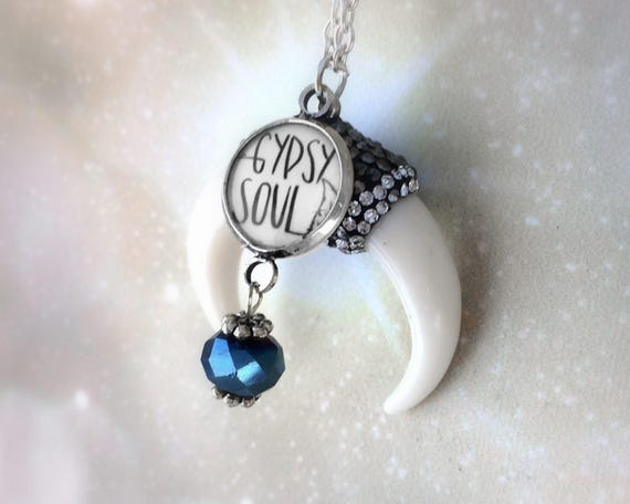 Custom Birthstone Gypsy Soul Double Horn Necklace
