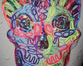 """Neon rattail sequin skull sewing craft sew in patch applique Large 10"""" 8"""" v6"""