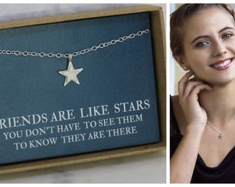 Star necklace silver, star jewelry, Christmas gift for friend, friends are like stars, friendship jewellery, friend gift - Astra