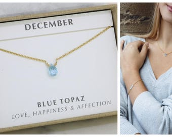 December birthstone necklace, blue topaz necklace, December birthday gift, tiny gemstone necklace - Natalie
