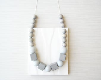 Grey Wood Necklace, Chunky Jewelry, 5th Anniversary Gift, Statement, Vintage Beads, Cube, Beaded, Long, Boho, Bohemian
