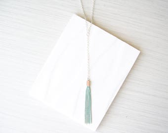 Long Y Necklace, Turquoise Tassel Jewelry, Delicate, Trendy, Dainty, Silver, Layering