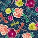 Zola from Ink and Arrow Fabrics - Full or Half Yard Flowers and Dragonflies on Dark Navy - Modern Floral with Dragonflies