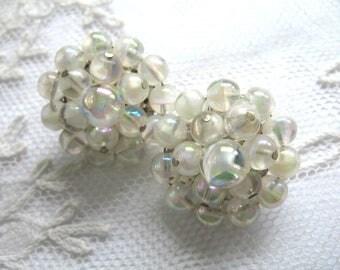 Vintage Cluster Earrings ~ Givre Glass Beads  ~ Clip On ~ White