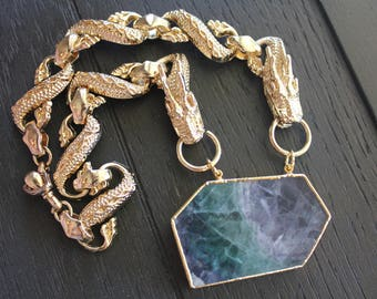 Fluorite Necklace Fluorite Jewelry Dragon Necklace Dragon Jewelry Game Of Thrones Necklace Game Of Thrones Jewelry Rainbow Fluorite Choker
