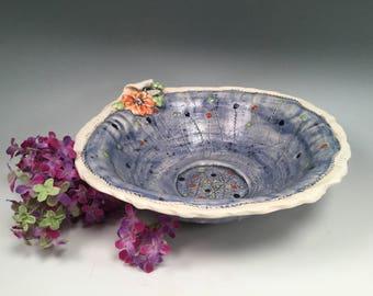 Pottery bowl/blue pottery/bowl/serving bowl/handmade bowl/salad bowl/ice cream bowl