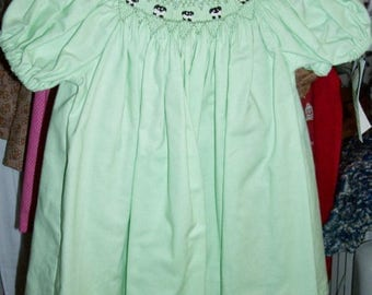 Mint green dress with the characteristic sheep around the bishop neckline -  Size 6 months