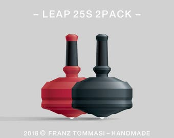 LEAP 25S 2PACK Red-Black – Value-priced set of spin tops with ceramic tip and rubber grip