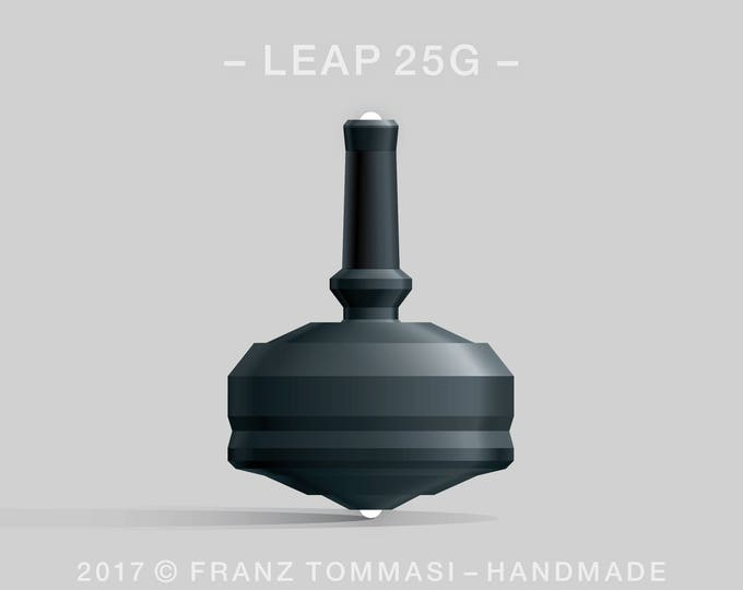 LEAP 25G Black Spin Top with black polymer body, ergonomic stem with rubber grip, and dual ceramic tip