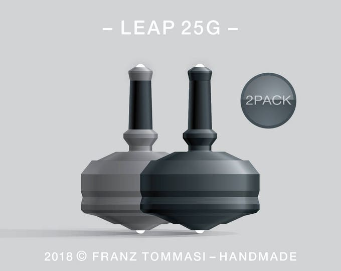 LEAP 25G 2PACK Gray-Black – Value-priced set of precision handmade spin tops with dual ceramic tip and integrated rubber grip