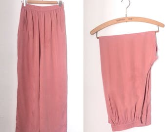 Vintage 1990s LIZ CLAIBORNE COLLECTION blush pink silk wide-leg trousers / nineties silk loose-fit elaticated pants - medium