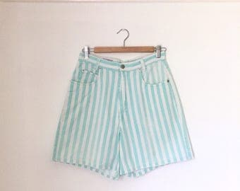 "Vintage 1990s cute mint striped cotton high-waisted shorts / Palmetto's twill high-rise shorts - small to medium - 28.5"" waist"