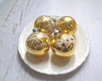 Vintage Shiny Brite Ornaments, Gold Christmas Balls, Mercury Glass Ornaments, Gold Holiday Balls, Mid Century Christmas