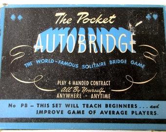 Vintage 1946 Pocket Autobridge Solitaire Bridge Game