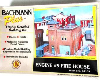 Vintage Bachmann N Scale Engine #9 Fire House #35153