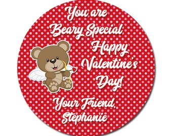 Personalized Valentines Day Stickers You Are Beary Special Cute Bear With Wings on Polka Dot Background Round Glossy Designer Stickers