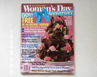 Woman's Day Magazine, 50th Anniversary Collector's Issue, October 27, 1987, Vintage Publication, Crafts, Recipes, Advice, Teddy Bear Iron On