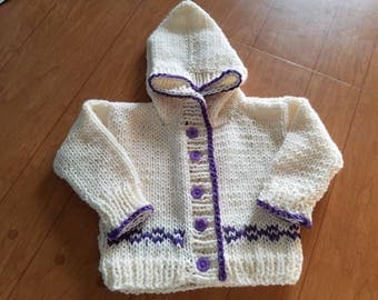 Hand Knitted BabyGirl Infant Toddler Hoodie Sweater