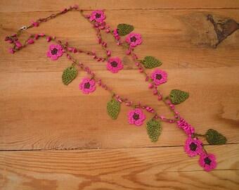 pink flower necklace, turkish crochet, oya