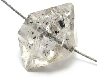 Herkimer Diamond Bead Quality Bright Oil Inclusions Double Terminated Translucent Metaphysical Chakra Meditate Reiki Healing Enhydro