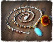 Pre-order. PAVE' Turquoise pendant beaded CROCHET jewelry Gemstone necklace STARS Native jewelry Southwestern Gorgeous Long necklace GPyoga