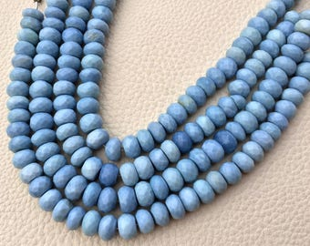7.5 Inch Strand, Superb-Natural PERUVIAN BLUE OPAL Faceted Rondells, 8-8.5mm Long,Great Quality at Wholesale Price .