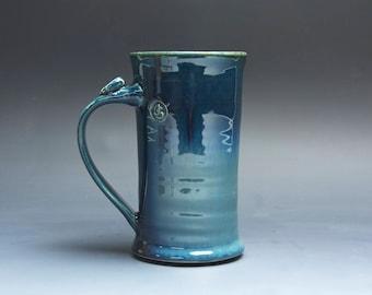 Pottery coffee mug, ceramic mug, stoneware tea cup deep blue 12 oz 4030