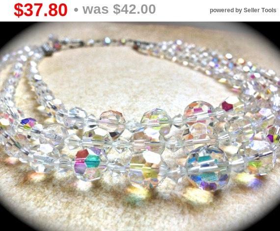 Summer Sale 3 Strand Crystal Necklace, Vintage Wedding Choker
