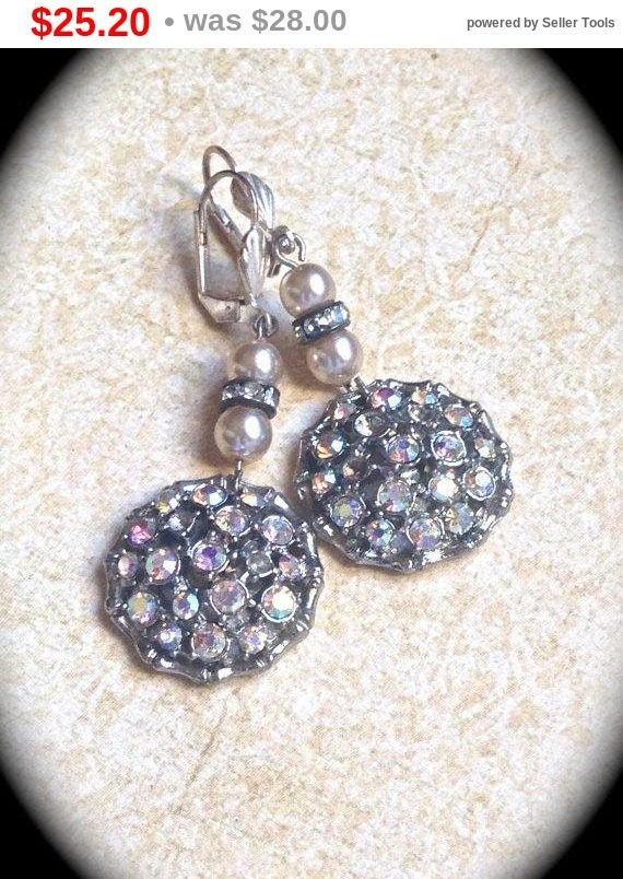 Summer Sale Vintage AB Rhinestone Button Earrings- Dangle Earring