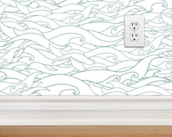 Removable Wallpaper - Waves, Ocean, Nautical, Repositionable, Removable, Woven Wallpaper, Peel and Stick Wallpaper with Ocean Waves