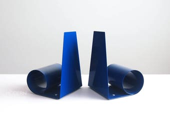 Pair of English Blue Modern Expandable Coil Spring Metal Bookends Pantone Mid Century