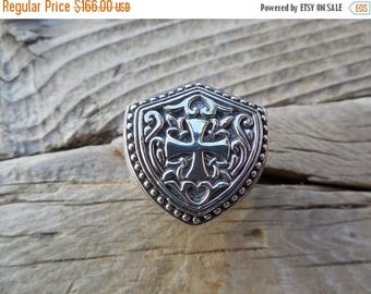 ON SALE Medieval shield ring with a cross in sterling silver