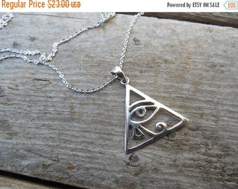 ON SALE Eye of Horus or eye of Ra necklace handmade in sterling silver