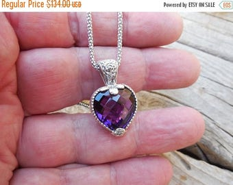 ON SALE Beautiful heart shape amethyst necklace handmade in sterling silver