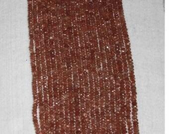 Sunstone, Sunstone Rondelle, Faceted Rondelle, Grade AA, Semi Precious, Gemstone Bead, Translucent, Sparkle, Spacer, Full Strand, 5-6mm