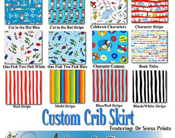 Custom Mini or Standard Crib Skirt - Featuring Dr. Seuss by Robert Kaufman, You Choose the Fabric