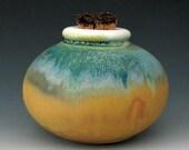 SMALL CERAMIC JAR #11 - Stoneware Jar - Ceramic Bottle - Spice Jar - Apothecary Jar - Corked Bottle - Canister - Small Urn - Studio Pottery
